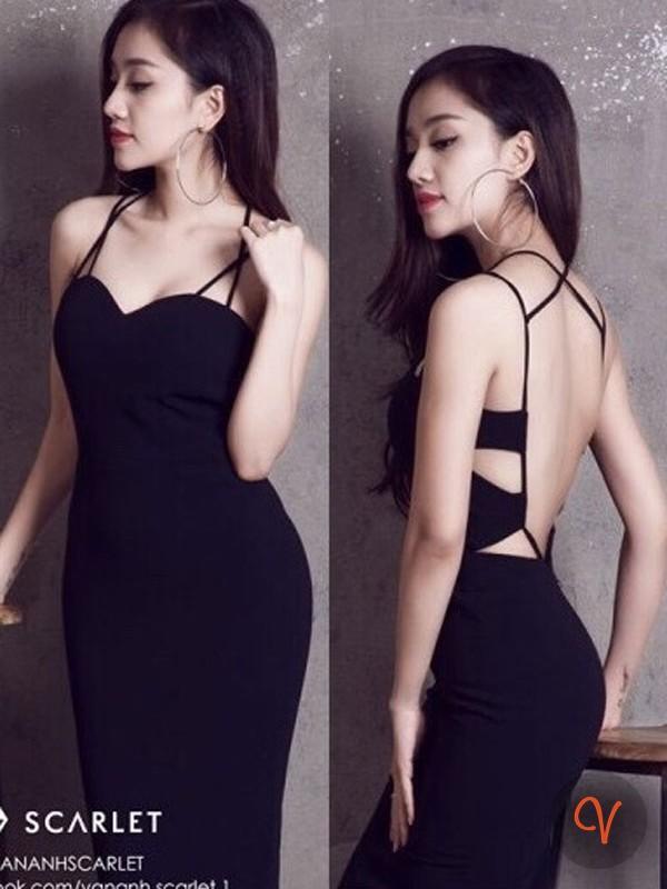 Đầm đen hở lưng ôm body thiết kế dáng bút chì dài - DN312