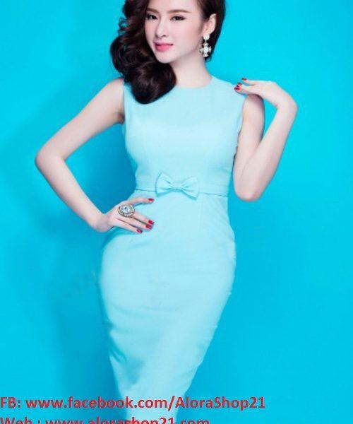 Đầm ôm body xanh ngọc phối nơ đẹp như Phương Trinh – DN315