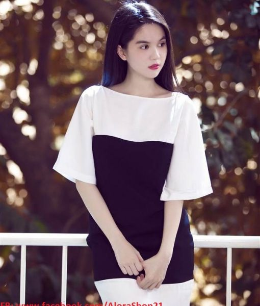 Đầm suông đen trắng tay lỡ đính nơ sau lưng Ngọc Trinh – DN321