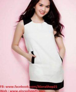 Đầm suông đơn giản trắng viền đen 2 túi xinh xắn - DN322