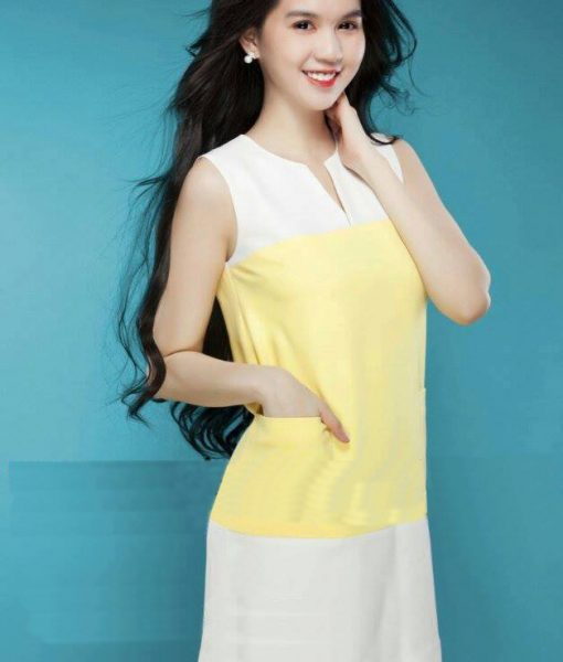 Đầm suông đơn giản sát nách phối màu vàng trắng – DN328