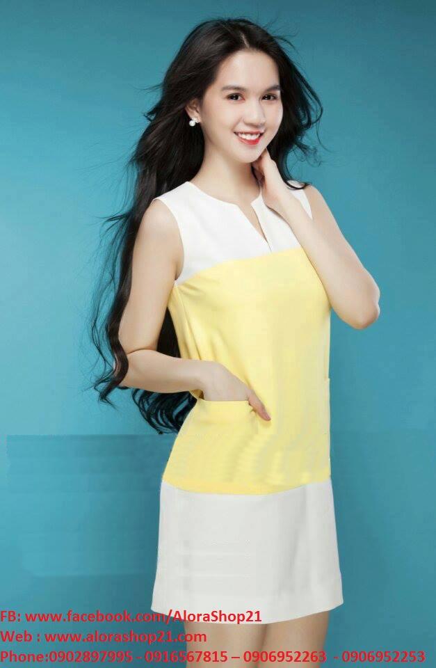 Đầm suông đơn giản sát nách phối màu vàng trắng - DN328