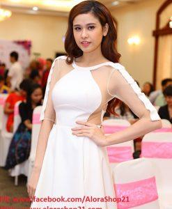Đầm xòe trắng phối lưới sexy như Quỳnh Anh - DN332