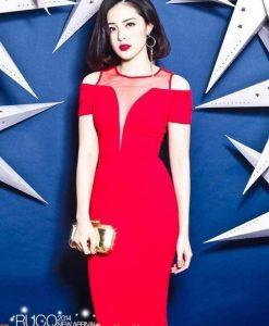 Váy đỏ ôm body phối lưới khoét ngực sâu - DN333