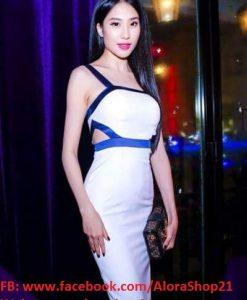 Váy body trắng viền xanh ôm body khoét eo sexy quyến rũ - DN335