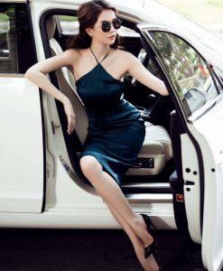 Đầm body cổ yếm phi bóng sexy quyến rũ - DN336
