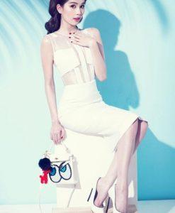 Đầm trắng phối lưới ôm body thiết kế sang trọng của Ngọc Trinh - DN340