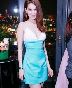 Váy ôm body trắng phối xanh 2 dây khoét ngực sâu - DN341