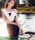 Đầm ôm trắng phối đen sexy lạ mắt như Ngọc Trinh - DN342
