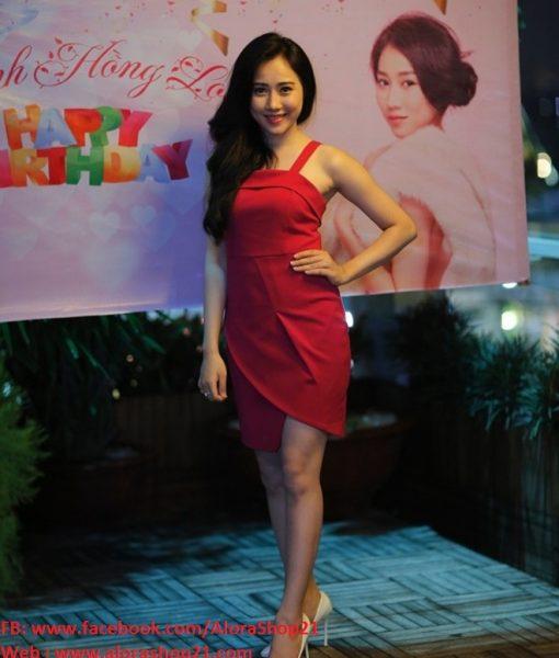 Váy body đỏ 2 dây xẻ tà trên gối sexy gợi cảm – DN347