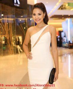 Đầm body trắng lệch vai cut out sexy quyến rũ sang trọng - DN348