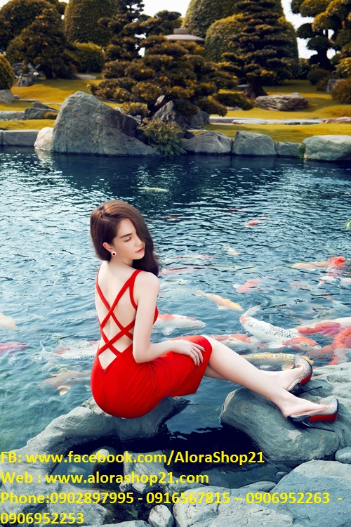 Đầm đỏ ôm body hở lưng thiết kế sexy như Ngọc Trinh - DN349