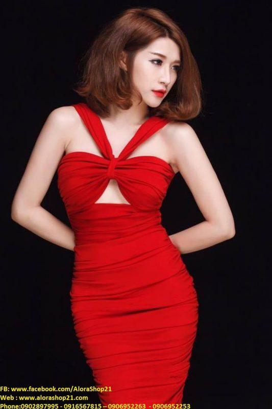 Đầm body cổ yếm cúp ngực sexy gợi cảm - DN351