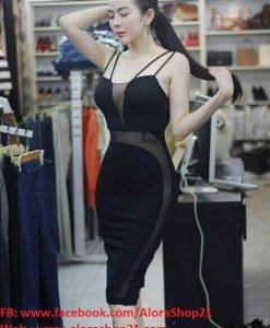 Váy body đen 2 dây mỏng cúp ngực phối lưới sexy quyến rũ - DN365