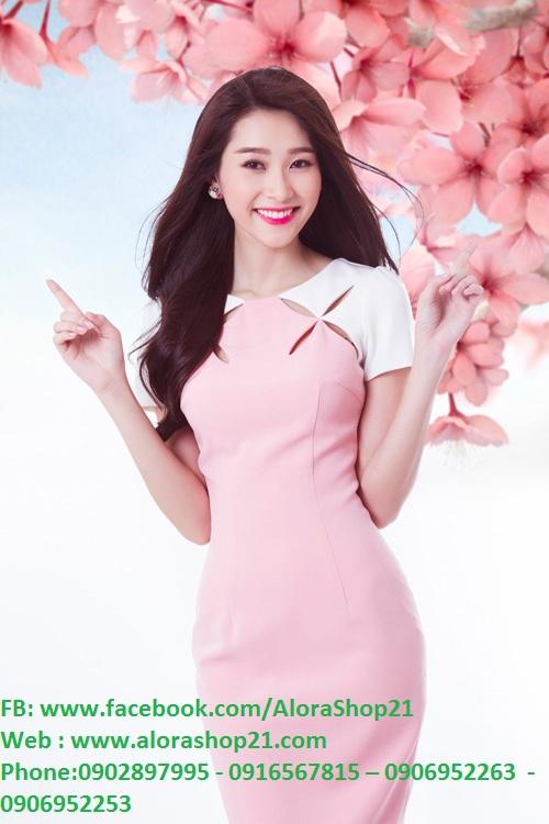 Đầm hồng phối nơ vai trắng xinh xắn như Thu Thảo - DN367
