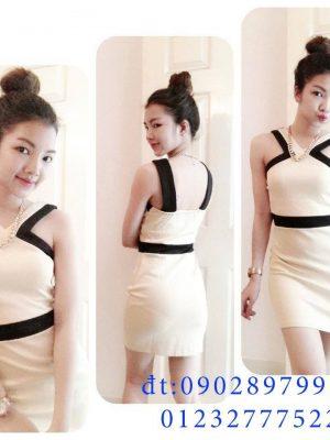 Đầm ôm màu be phối đen thiết kế cổ V cách điệu - DN37