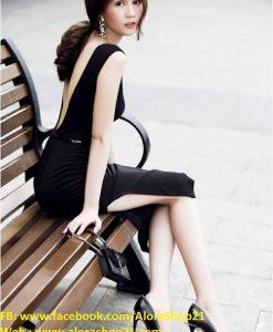 Đầm body đen hở lưng xẻ đùi sexy tôn dáng như Ngọc Trinh - DN374