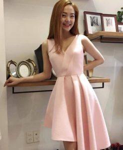 Đầm xòe đuôi cá xếp ly hồng pastel như Minh Hằng - DN375