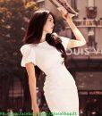 Đầm trắng ôm body hở lưng V quyến rũ như Ngọc Trinh - DN378