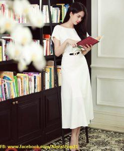 Đầm xòe dài thanh lịch dịu dàng nữ tính như Ngọc Trinh - DN379