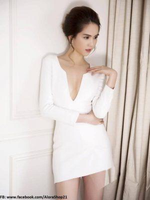 Đầm ôm body dài tay xẻ cổ V sâu sexy như Ngọc Trinh - DN38