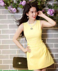 Đầm suông sát nách màu trắng trẻ trung dễ thương như Ngọc Trinh - DN380