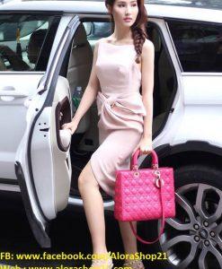Đầm ôm body hồng pastel phối nơ eo như Diễm My - DN383