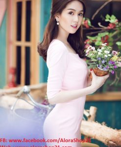 Đầm màu hồng nhạt thiết kế tay lỡ dễ thương như Ngọc Trinh - DN386