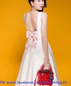 Đầm xòe trắng phối nơ lưng dễ thương sang trọng - DN387