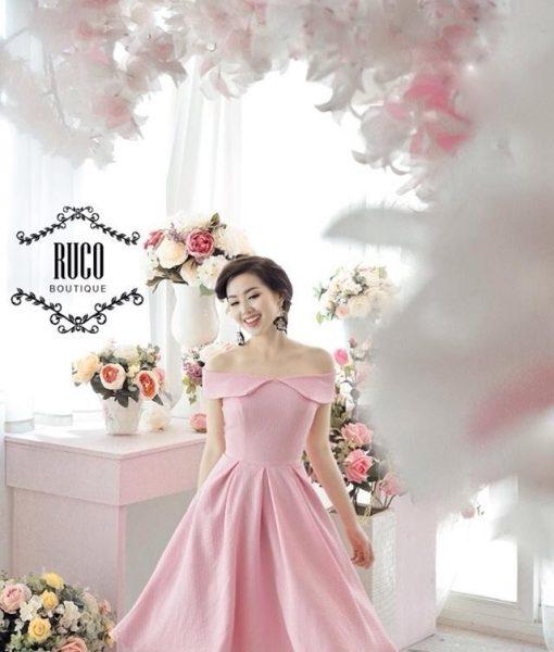 Đầm xòe hồng bẹt vai chân váy xòe quyến rũ sành điệu – DN389