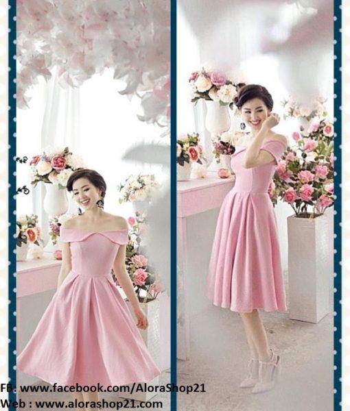 Đầm xòe hồng bẹt vai chân váy xòe quyến rũ sành điệu - DN389