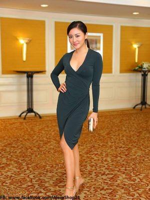Váy ôm xẻ đùi khoét ngực sâu như Văn Mai Hương - DN39