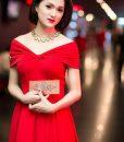 Đầm xòe dự tiệc bẹt vai xinh đẹp và sang trọng – DN390