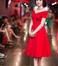Đầm xòe dự tiệc bẹt vai xinh đẹp và sang trọng - DN390