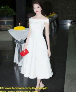 Đầm xòe bẹt vai sang trọng như HH Thu Thảo - DN391