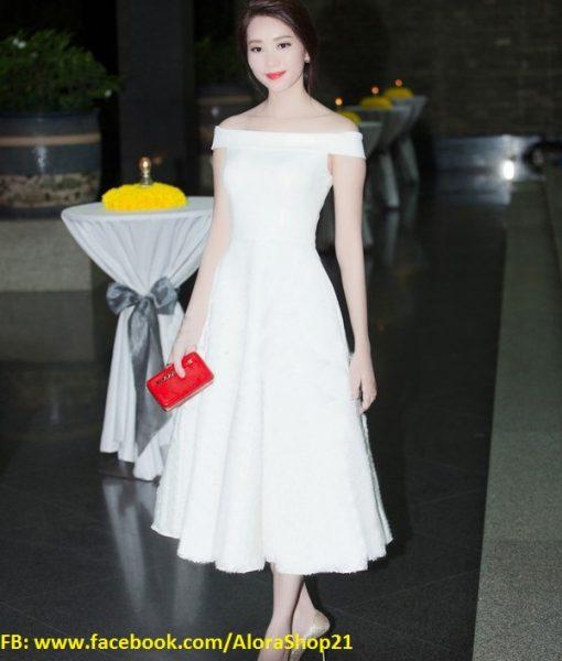 Đầm xòe bẹt vai sang trọng như HH Thu Thảo – DN391