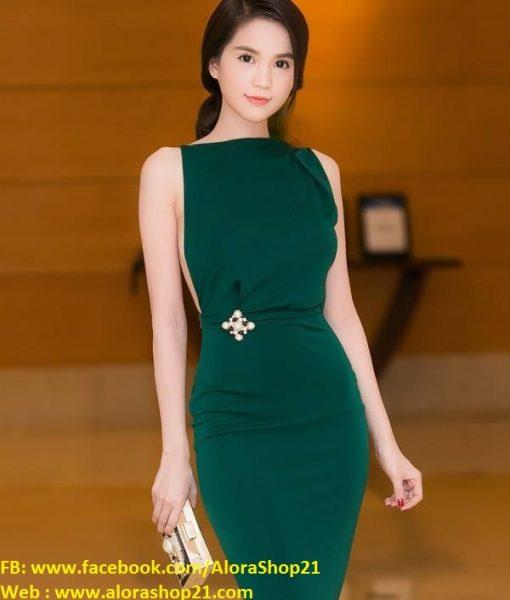 Đầm body hở lưng trần sexy quyến rũ như Ngọc Trinh – DN397