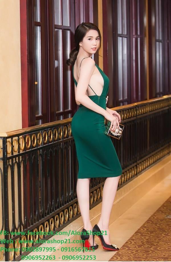 Đầm body hở lưng trần sexy quyến rũ như Ngọc Trinh - DN397