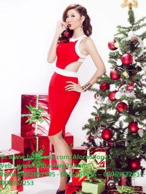 Đầm body cổ yếm khoét eo sexy quyến rũ - DN41