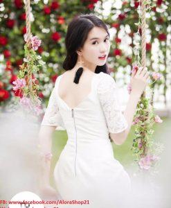 Đầm chữ A đẹp với thiết kế tay ren của Ngọc Trinh - DN46