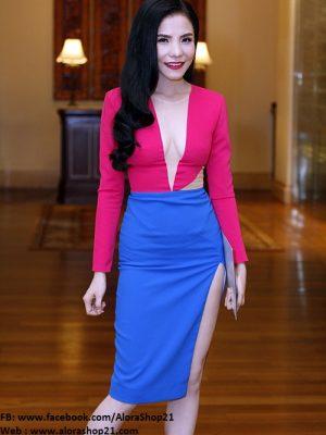 Váy body xẻ ngực cut out sexy xẻ cao như Mai Trang - DN54