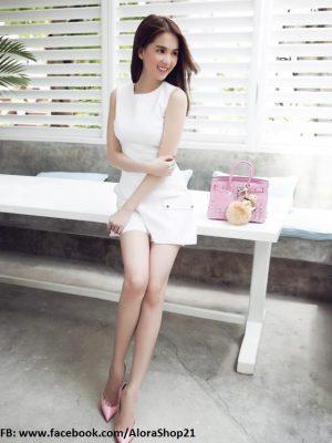Đầm suông chữ A Ngọc Trinh thiết kế giả vest xinh xắn - DN58
