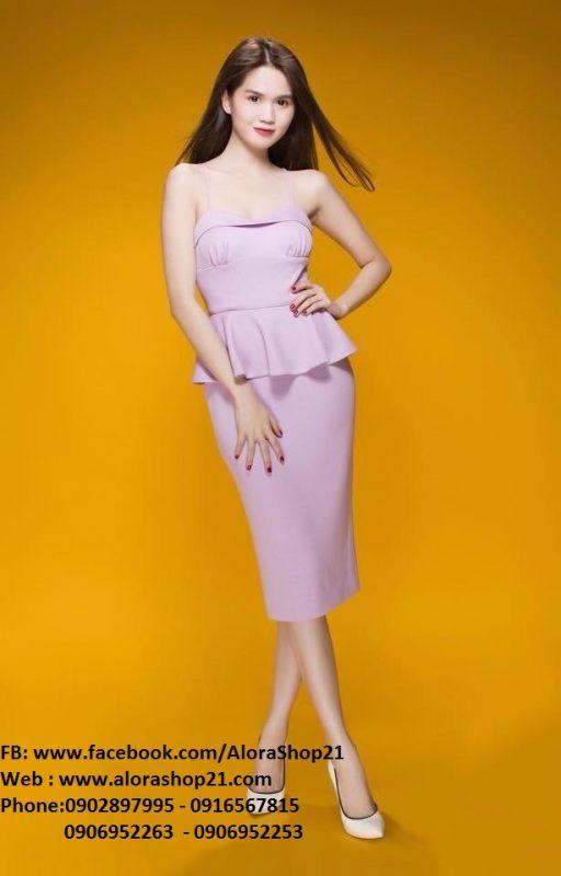Đầm 2 dây nhuyễn màu tím nhạt Peplum đẹp như Ngọc Trinh - DN99
