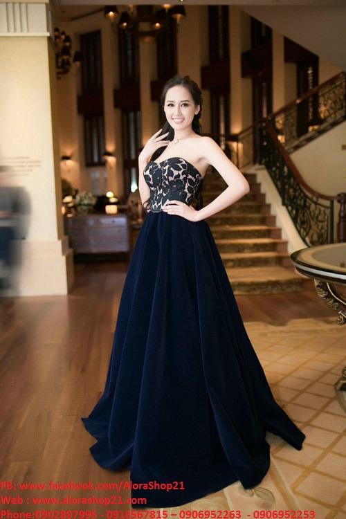 Đầm dạ hội cúp ngực ren phối chân váy xòe như Mai Phương Thúy - D352