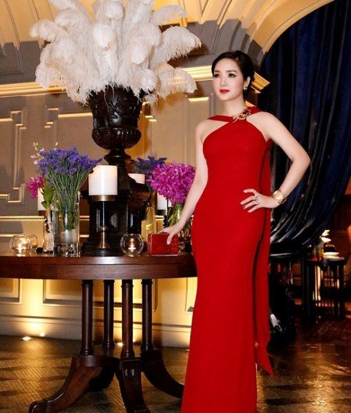 Đầm dạ hội cổ yếm xẻ đùi cao ôm body tôn dáng – D358