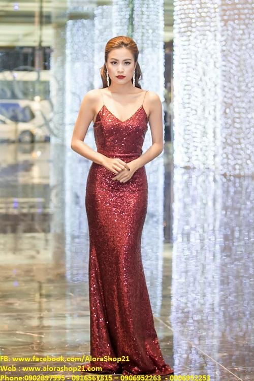 Đầm dạ hội kim sa thiết kế 2 dây đơn giản tuyệt đẹp - D359