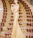 Đầm dài kim sa lộng lẫy tôn dáng như Yến Nhung – D361