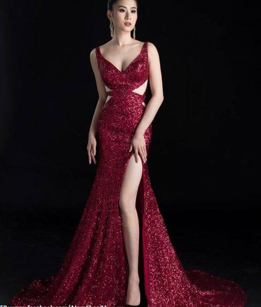 Váy dạ hội kim sa cao cấp cut out xẻ đùi tôn dáng – D362