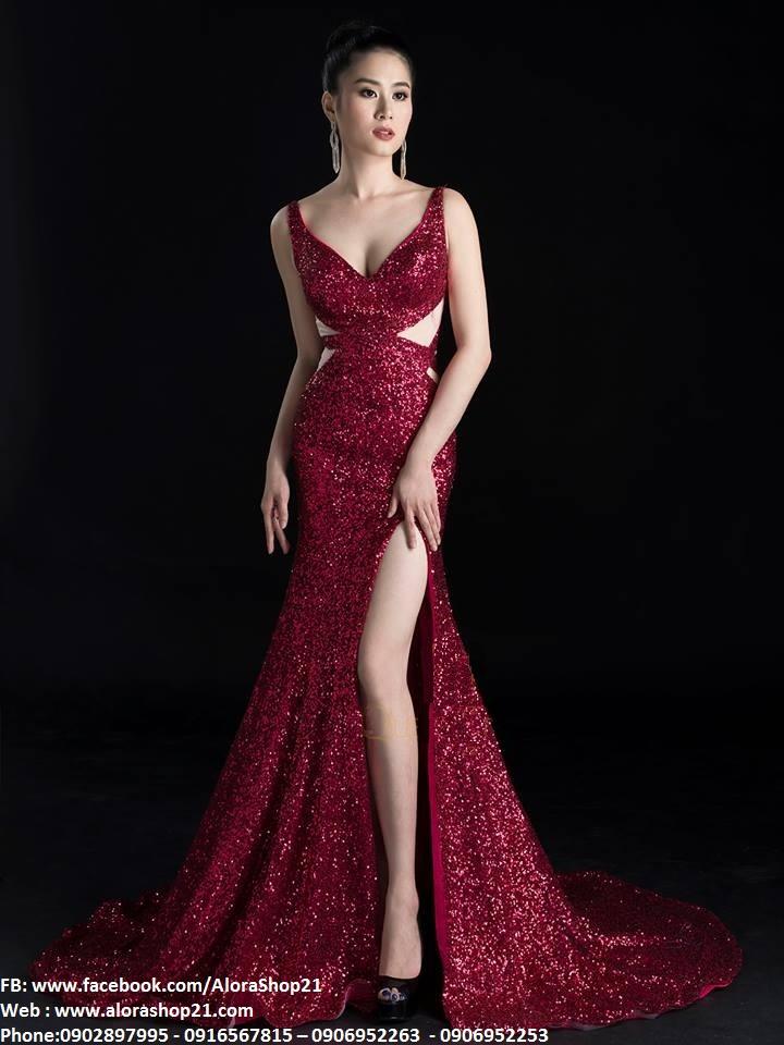 Váy dạ hội kim sa cao cấp cut out xẻ đùi tôn dáng - D362