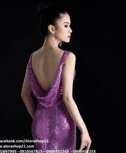 Đầm dạ hội kim sa đổ lưng sau gợi cảm tôn dáng - D363